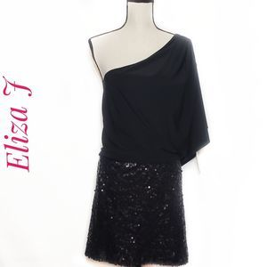 Eliza J Black Missy one shoulder sequin dress Nwt